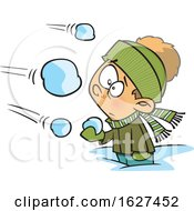 Cartoon White Boy Being Attacked In A Snowball Fight