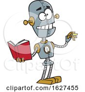 Cartoon Teacher Robot Holding A Book And Chalk