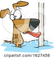 Cartoon Dog With His Tongue Stuck Frozen To A Pole