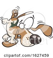 Cartoon Bassett Hound Dog Tripping On His Own Ear