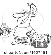 Cartoon Black And White Grinning Laundry Lord Man Holding Detergent By A Basket