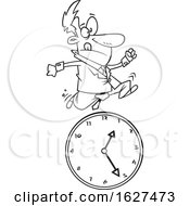Cartoon Black And White Business Man Running Over A Clock