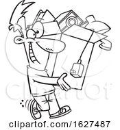 Cartoon Black And White Happy Man Carrying A Box Of Stuff To Get Rid Of