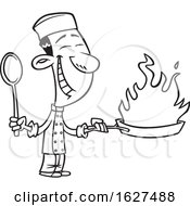 Cartoon Black And White Happy Asian Chef Holding A Flaming Wok