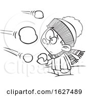 Cartoon Black And White Boy Being Attacked In A Snowball Fight
