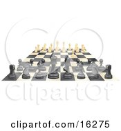 Ebony And Ivory Chess Pieces Lined Up On A Board During A Chess Game One Ivory Forward Clipart Illustration by AtStockIllustration