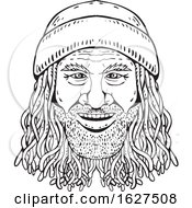 Rastafarian Dude Head Front Drawing Black And White by patrimonio