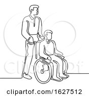 Patient On Wheelchair Continuous Line