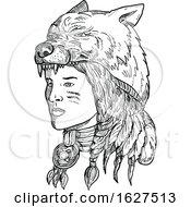 Poster, Art Print Of Native American Woman Wearing Wolf Head