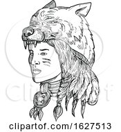 Native American Woman Wearing Wolf Head