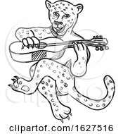 Happy Leopard Playing Acoustic Guitar Cartoon