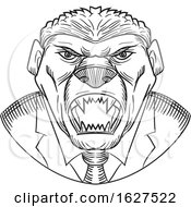 Black And White Aggressive Honey Badger Wearing Tie Drawing