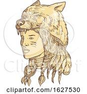 Poster, Art Print Of Native American Woman Wearing Wolf Headdress