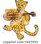 Happy Jaguar Playing Acoustic Guitar Cartoon