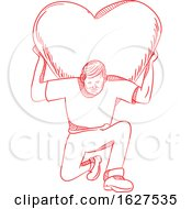 Poster, Art Print Of Modern Atlas Lifting Heart On Back Drawing