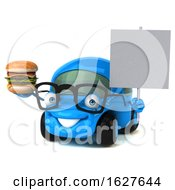 3d Blue Car On A White Background