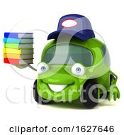 3d Green Mechanic Car On A White Background