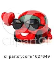3d Red Car On A White Background