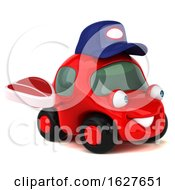 3d Red Mechanic Car On A White Background