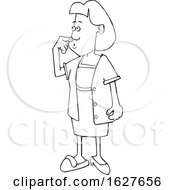 Cartoon Black And White Forgetful Woman Wearing A Slipper And Heel