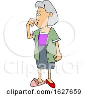 Cartoon Forgetful Woman Wearing A Slipper And Heel