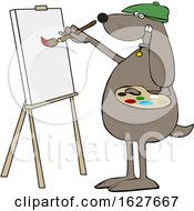 Cartoon Dog Artist Painting On A Canvas
