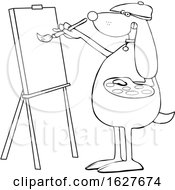 Poster, Art Print Of Cartoon Black And White Dog Artist Painting On A Canvas