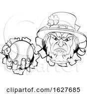 Poster, Art Print Of Leprechaun Baseball Mascot Ripping Background