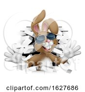 Poster, Art Print Of Cool Easter Bunny Rabbit In Shades Breaking Wall