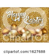 Happy Easter Greeting With Gold Glitter And Eggs