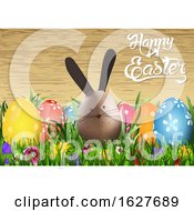 Poster, Art Print Of Happy Easter Greeting With Eggs And A Bunny Over Wood