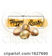 Poster, Art Print Of Happy Easter Greeting With Gold Eggs
