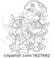 Black And White Pirate Captain At The Helm