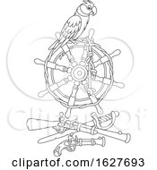 Black And White Pirate Parrot On A Helm Over Weapons