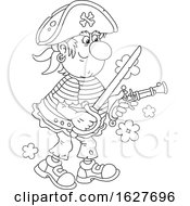 Black And White Pirate Holding A Sword And Pistol