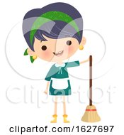 Happy Cleaning Lady With A Broom