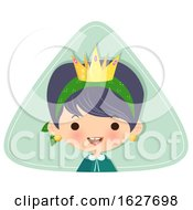 Happy Cleaning Lady Wearing A Crown Over A Triangle by Melisende Vector