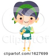 Poster, Art Print Of Happy Cleaning Lady With A Bottle And Gloves