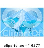 Blue World Map Over A Lighter Blue Background With Bright Beams Of Light Clipart Illustration