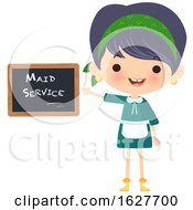Poster, Art Print Of Happy Cleaning Lady Presenting A Maid Service Chalkboard