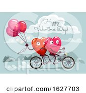 Valentines Day Heart Couple Riding A Tandem Bike