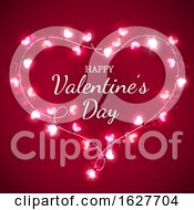 Poster, Art Print Of Happy Valentines Day Greeting In A Heart Of Lights On Red