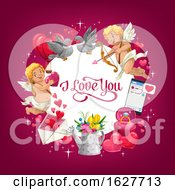 Valentines Day Frame With I Love You Text