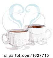 Poster, Art Print Of Valentines Day Heart Of Steam Over Coffee Cups