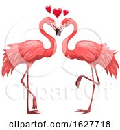 Poster, Art Print Of Valentines Day Flamingo Couple With Hearts