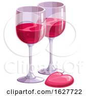 Poster, Art Print Of Valentines Day Heart And Wine Glasses