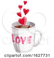 Poster, Art Print Of Valentines Day Love Coffee Cup With Hearts