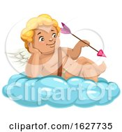 Poster, Art Print Of Valentines Day Cupid Holding An Arrow On A Cloud