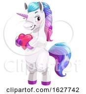 Valentines Day Unicorn Holding A Heart