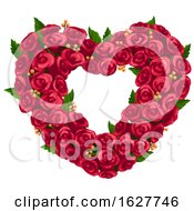 Poster, Art Print Of Valentines Day Red Rose Heart Wreath